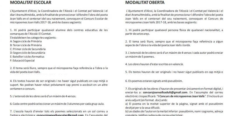 L'Ajuntament d'Alcoi, la Coordinadora de l'Alcoià-Comtat pel Valencià i Aramultimèdia convoquen un concurs de micropoemes basats en Joan Valls