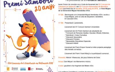 La Fundació Sambori atorga els guardons de la fase de país del XXé Concurs de Literatura en Valencià